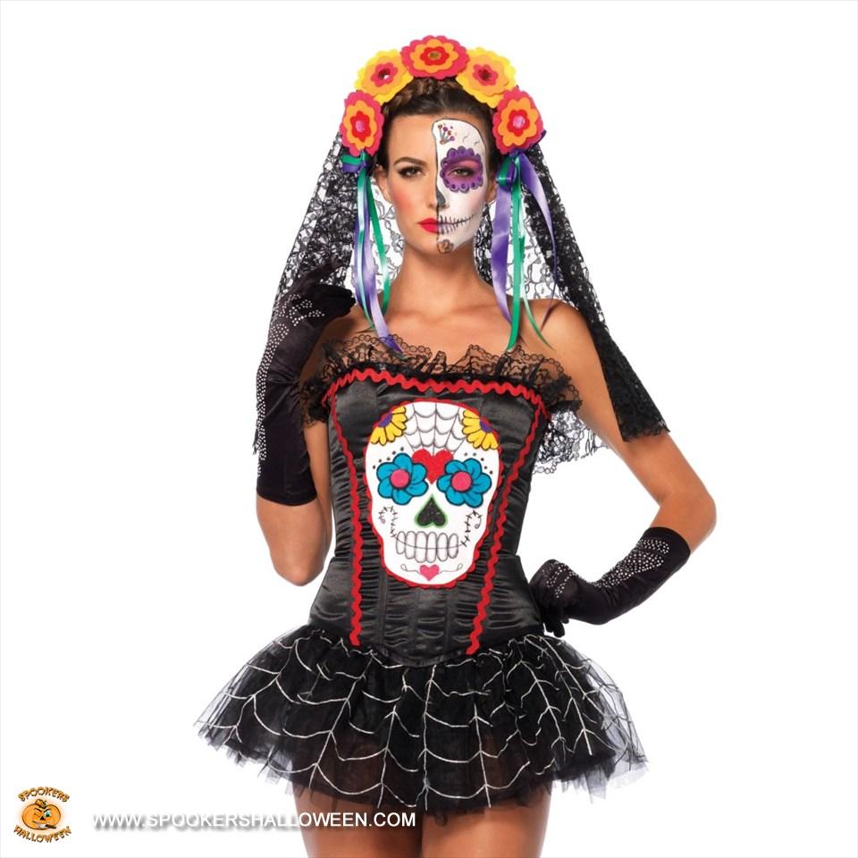 sugar skull bustier costumes for women spookers halloween - Bustier Halloween Costumes